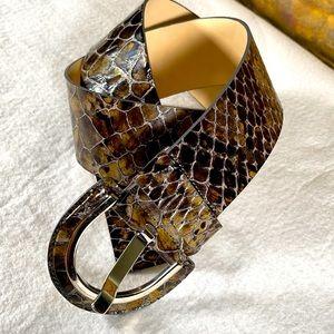Banana Republic Python Print Italian Leather Belt